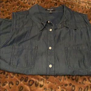 Short sleeve jean button down
